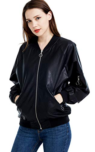 Fasbric Classic Leather Jacket Zipper Biker Bomber Wind & Water Proof Coat Baseball Jacket for ()