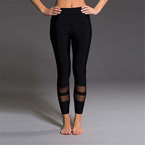 ShungHO Fashion Yoga Pants Woman Mesh Net Yarn Splicing Trousers Yoga Leggings Compression Pants Fitness Exercise Tights,Black,S