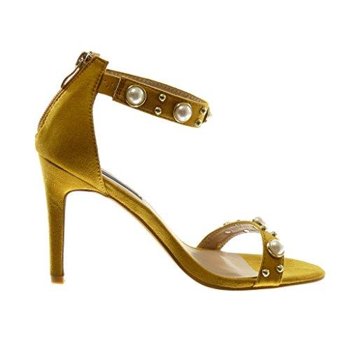 Angkorly Damen Schuhe Sandalen Pumpe - Knöchelriemen - Stiletto - Nieten - Besetzt - Perle - Golden Stiletto High Heel 10 cm Senffarbe