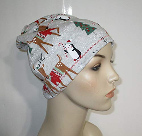 Womens Christmas Chemo Reindeer Slouch Hat Alopecia Cancer Hat