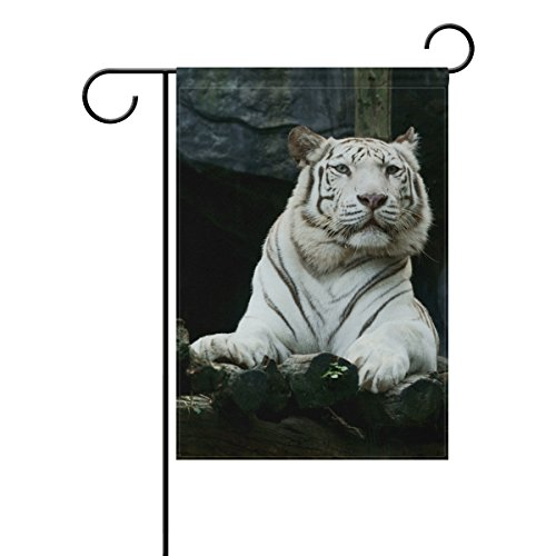 Holisaky Cool White Tiger Resting On Wood Outdoor Decor Gard