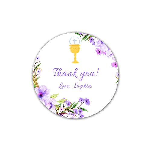 40 Stickers Girl Communion Thank You Party Favor Label Floral