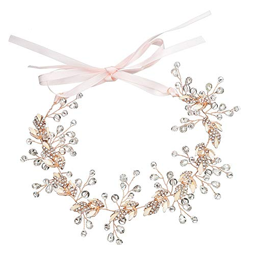 Bridal Flower Leaves Crystal Beaded Headband Hair Vine Rhinestone Tiara Girl Crown Women