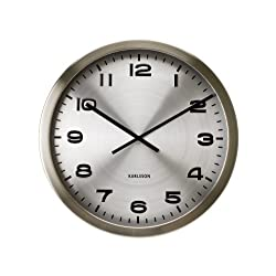 Present Time Karlsson Wall Clock Maxie, Steel Polished Aluminum