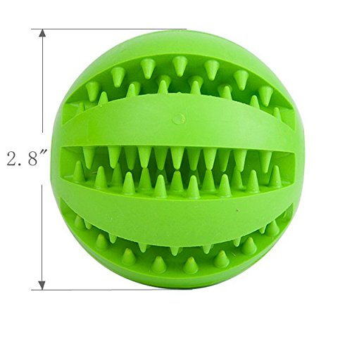 EXPAWLORER Dog Toy Ball for Pet Training/Playing/Chewing, Non-Toxic Soft Rubber Tooth Cleaning Toys, 2.8'' Pack of 2