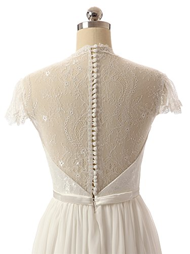 Ivory Chiffon Lace JAEDEN Gown Sleeve Cap Wedding Dresses Bridal 8wqZqnfg