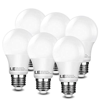 LE 6 Pack Dimmable LED Light Bulbs 60W Equivalent, 10W A19 E26 , 120V AC, 800lm, 240° Beam Angle, 2700K Warm White