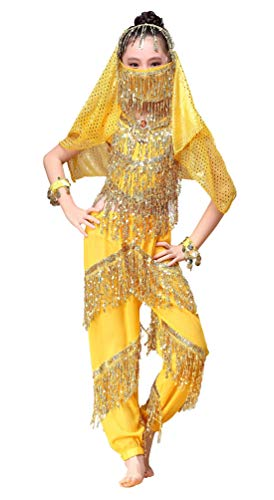 Happy Cherry Kid Girls Chiffon Belly Dance Outfits Shiny Sequins Indian Dance Costumes Halloween Dress-up Clothes with Head Veil Face Veil Bracelets]()