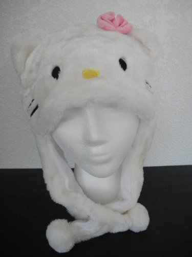 White Kitty Aviator Plush Hat (Womens Hello Kitty Clothes)