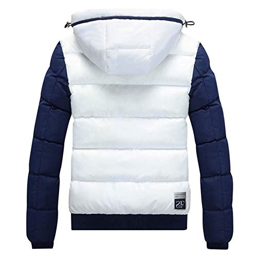 Sleeve Hat Fit Padded Hooded Men's Fashion with Down Winter White Zipper Pockets Side Slim Long Coat Detachable Warm Jacket Jacket Lannister nOSqc877