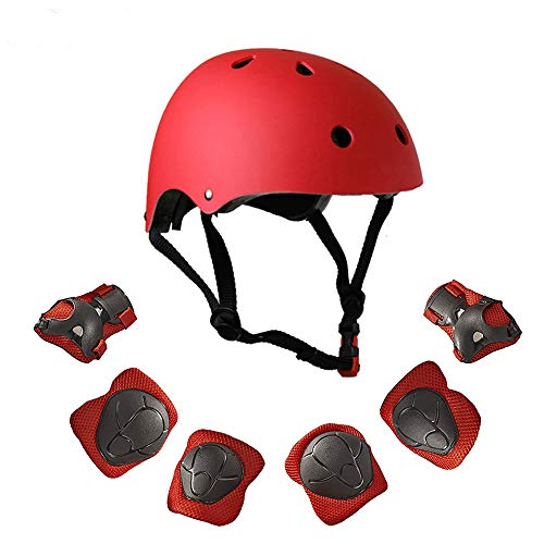 (Warm House Kids Toddler Protective Gear and Helmet Sets,3 to 8 Years Old Kids Helmet and Pads Set[Knee Pads,Wrist Pads and Elbow Pads] for Skateboarding, Skating, Scooter, Cycling (Red))