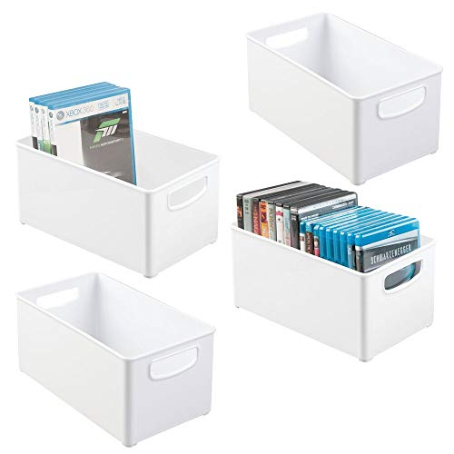 mDesign Plastic Stackable Household Storage Organizer Container Bin Box with Handles - for Media Consoles, Closets, Cabinets - Holds DVD's, Video Games, Gaming Accessories, Head Sets - 4 Pack - White
