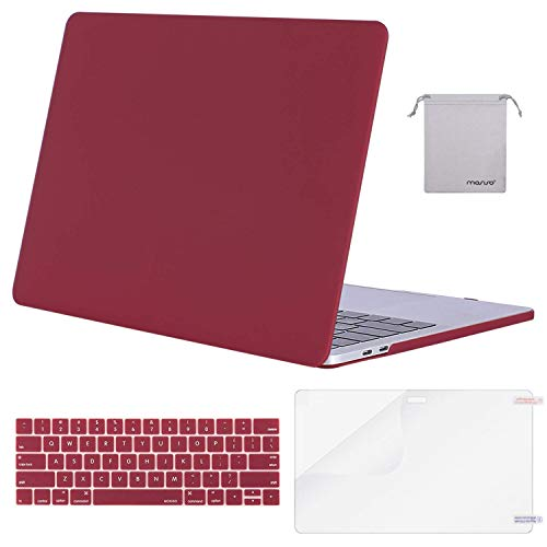 MOSISO MacBook Pro 15 inch Case 2019 2018 2017 2016 Release A1990 A1707, Plastic Hard Shell Case&Keyboard Cover&Screen Protector&Storage Bag Compatible with MacBook Pro 15 Touch Bar, Wine Red