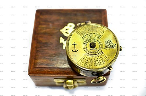 World Of Vintage 2-inch Antique Brass 100 Years Calendar Compass with Wooden Box (Multicolour) Price & Reviews