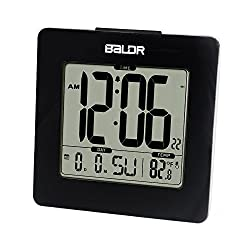 BALDR Digital Square Alarm Clock, Displays Time, Date, and Indoor Temperature, Blue Backlight (Black)