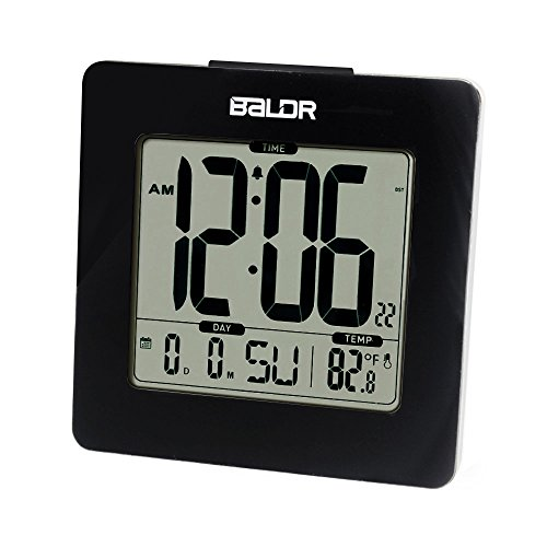 BALDR Digital Square Alarm Clock, Displays Time, Date, and Indoor Temperature, Blue Backlight (Black) - Square Desk Clock