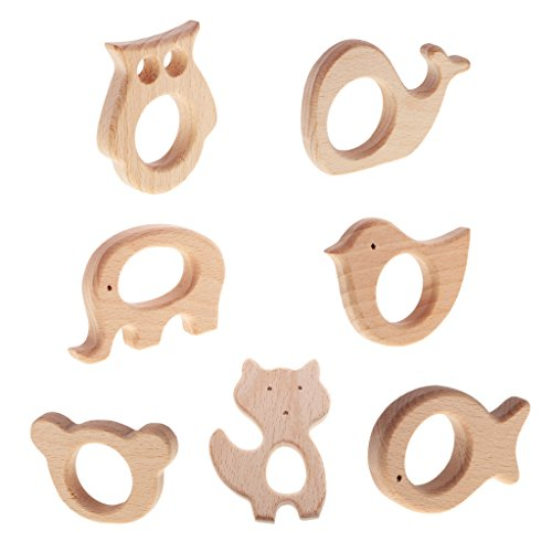 MagiDeal 7 Pieces/Lot Natural Wooden Cute Animal Shape Owl Bird Fish Baby Teether Toy Shower Ring