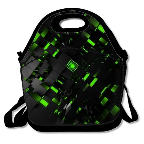 3d Green Cubes Lunch Bag Zipper Washable Durable Lightweight Lunchbox For Snacks & Lunch