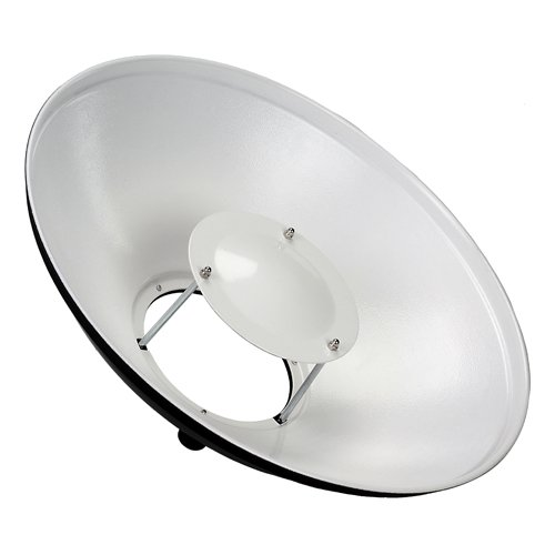 Fotodiox Pro 16in (40cm) All Metal Beauty Dish with Balcar (Alien Bees / Einstein / White Lightning) Insert - Soft White Interior by Fotodiox