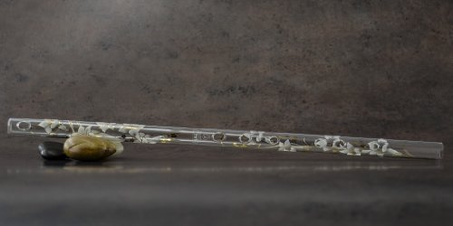 Hall Crystal Flute 11901 - Inline Glass Flute in F - White ()