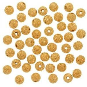 Gold Stardust Spacer Plated - Five Season 4mm Stardust 22K Gold Plated Brass Base Spacer Round Beads for Bracelets DIY Jewelry Making (About 100pcs )