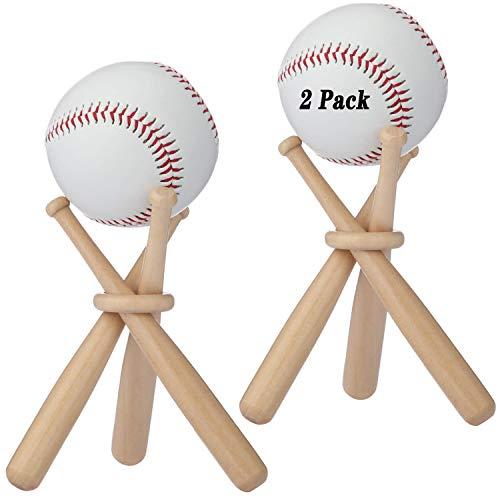 BaseGoal Wooden Baseball Softball Stand Display Consists of 3 Mini Baseball Bat and 1 Wooden Circles