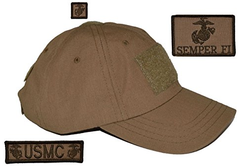 Coyote Brown USA Made Tactical Operator Cap with Marine Corps USMC EGA Semper Fi Patch Set - One Size Adjustable