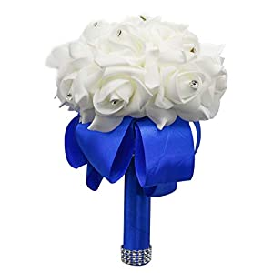IDS Wedding Bouquet Crystal Pearl Silk Roses Bridal Bridesmaid Wedding Hand Bouquet Artificial Fake Flowers 73