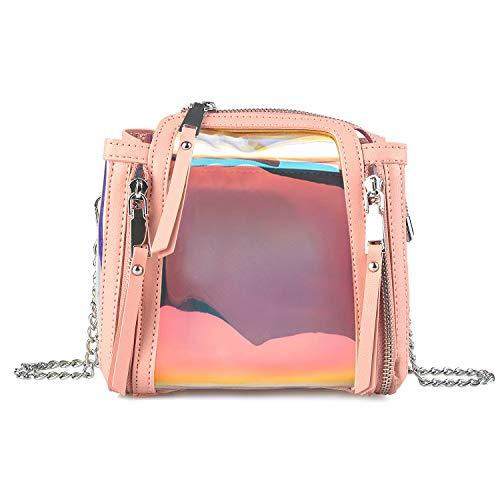 Forestfish Crossbody Bag Colorful Shoulder Bag Purse Travel Beach Bag for Women Grils, Pink