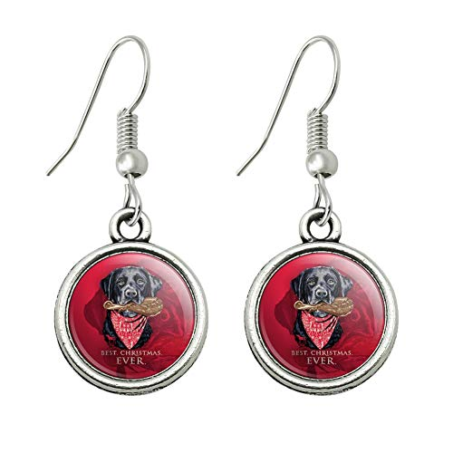 GRAPHICS & MORE Best Christmas Ever Lab Dog Turkey Leg Novelty Dangling Drop Charm Earrings ()