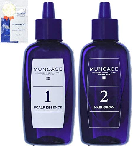 MUNOAGE W Approach Hair Program (Medicated Hair Growth 2 STEP Scalp Beauty Serum 2.0 fl oz (60 ml) & Hair Growing Agent 2.0 fl oz (60 ml) Set) for Women Hair Growing Agent for Particular Hair Loss Prevention [Limited Gift Set]