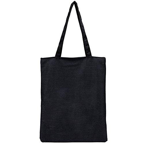 Tote par Daorier Coton Imprimé Bag Sac Naturel Noir en Noir rvfprY