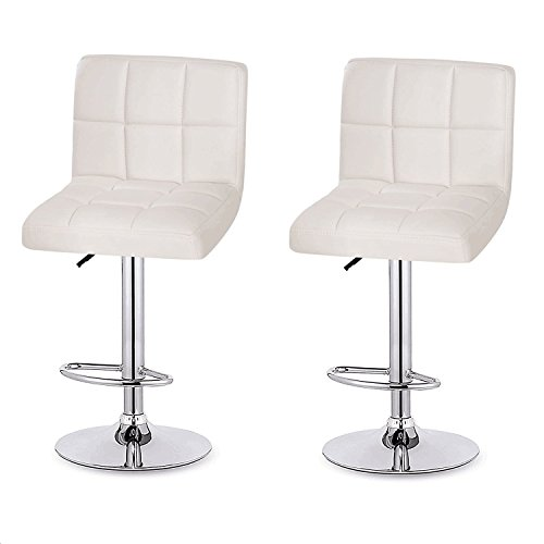 Homdox Adjustable Counter Bar Stools with Back, Leather Swivel Barstool, Set of 2, White (Back Adjustable Leather)