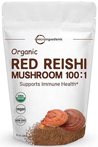 Sustainably US Grown, Organic Reishi Mushroom Powder, 8 Ounce, 100:1  Extract with Active