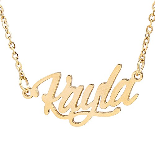 AOLO Personalized Golden Plated Carrie Name Necklaces, -