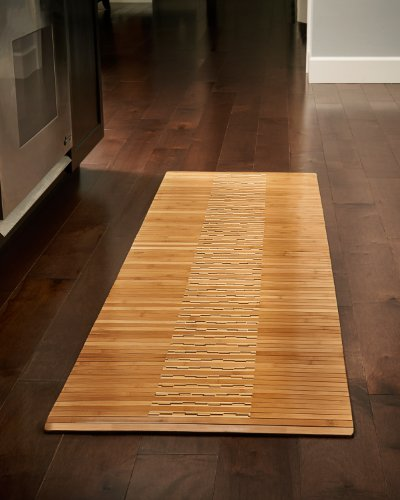Anji Mountain Natural Fiber Wooden Slat Kitchen and Bath Mat, Natural, 20 x 72-Inch
