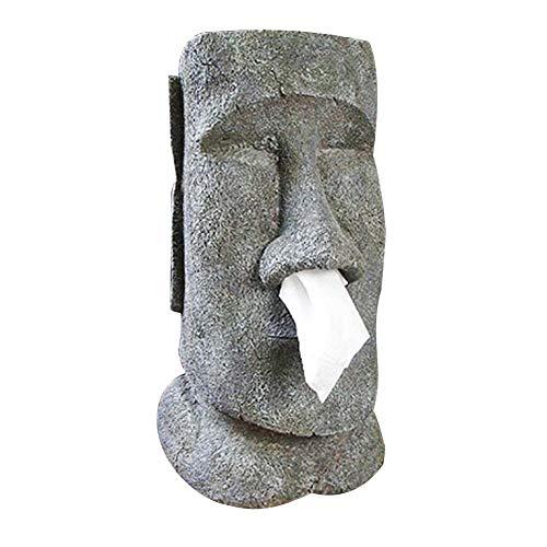 terferein Moai Easter Island Stone Face Portrait Caja de panuelos, Caja de panuelos Tipo de moco Portacontenedores, Diseno Innovador, Decora tu Escritorio