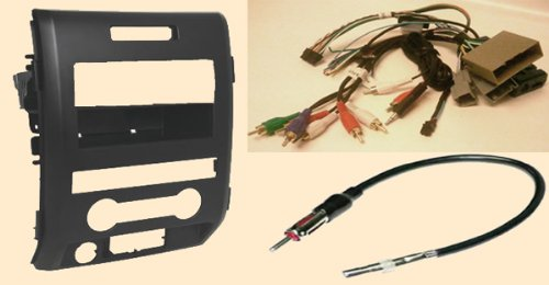 Radio Stereo Install Dash Kit (single and double din) + Steering control wiring + canbus wire harness + antenna adapter for Ford F Series XL Pickup without Navigation F150 (09-2012), f250 (2009-12), F350 (09 10 11 12), F450 (2009 2010 2011 2012)