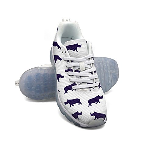 Faaerd Astratto Rinoceronte Sul Bianco Mens Moda Leggero Mesh Cuscino Daria Sneakers Basket Sneakers