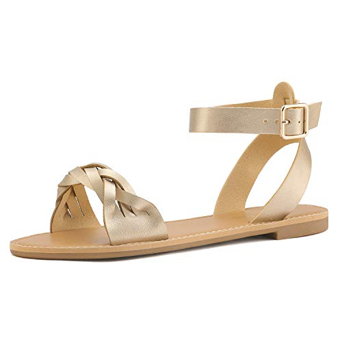 DREAM PAIRS Gold Pu Summer Sandals for Women Casual Open Toes Ankle Straps Buckle Fashion Flat Sandals, Soft Faux Leather Braided One Band Comfortable Slingback Dress Cute Flat Shoes Size 5.5 M US
