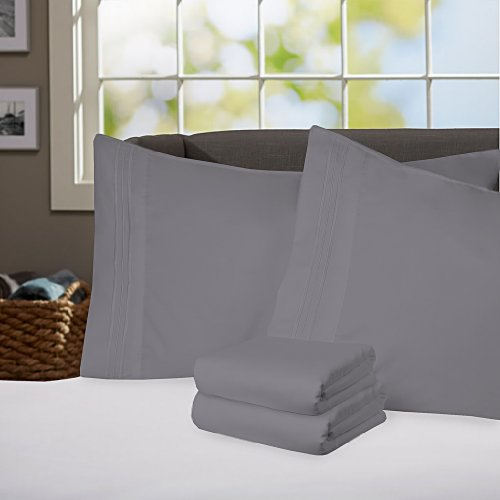 Sweet Home Collection Supreme 1800 Series 4pc Bed Sheet Set Egyptian Quality Deep Pocket - King, Gray