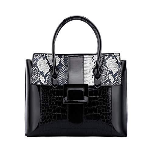 Dimplee Snakeskin Bag Large Satchel Faux Leather Shoulder Crossbody Purse Python Animal Zipper Tote Black Women Handbag (black)