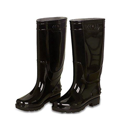 Rain Boots,New Mens Ladies Horse Riding Yard Waterproof Stable Rain Snow Winter Ski Farm Boots (Color : Black, Size : 40)