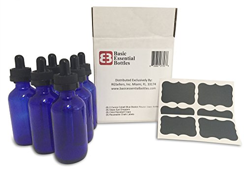 (6) 2 oz Empty Cobalt Blue Glass Bottles W/Glass Eye Droppers and Child Resistant Tops (6) Chalk Labels for Essential Oils, Aromatherapy