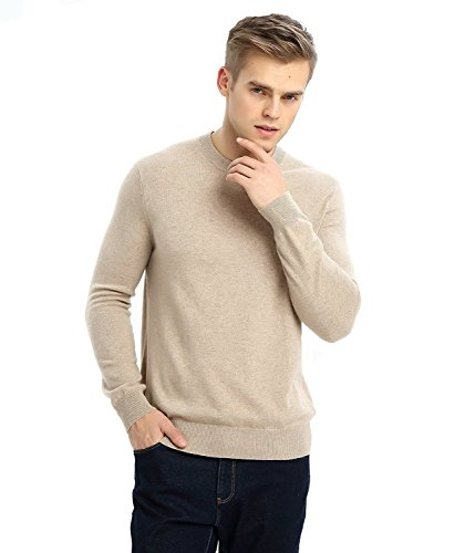 - MIUK 2017 New Mens 100% Cashmere Basic Sweater Round Neck Simple Warm Pullovers Camel L