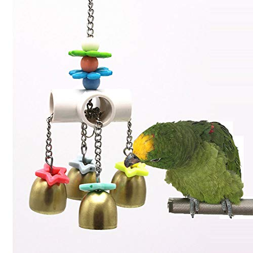 Keersi Bird Bells Toy with Sweet Sound for Pet Budgie Parakeet Cockatiel Conure Macaw African Grey Cockatoo Amazon Lovebird Budgie Finch Canary Cage