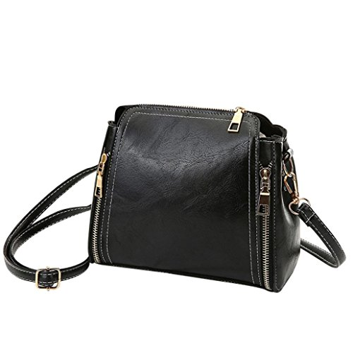 Women Crossbody Bag Girls Fashion Double Zipper Solid Single Shoulder Bags (Black) (Zippers Fashion Double Solid)