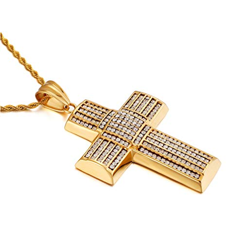 (WANZIJING Necklace for Men, Iced Out CZ Diamond Cross Pendant Necklace 18K Gold Plating Hip Hop Necklace with Rope Chain 26'')