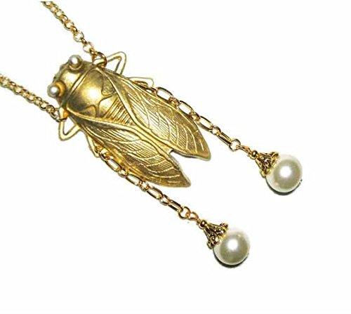 Pearl Bug - CICADA Necklace GOLDEN BUG Egyptian Revival Gold Plt Sautoir Glass Pearls