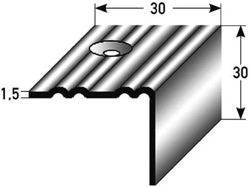 50 metros (50 x 1 m) - Perfil de escalera (Dimensiones 30 mm x 30 mm) de acero inoxidable mate, perforado - color: acero inoxidable: Amazon.es: Hogar